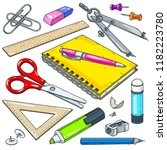 vector stationery for school... | Shutterstock .eps vector #1182223780