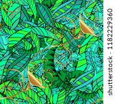 cute leaves pattern on green ... | Shutterstock .eps vector #1182229360