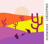 desert on neutral  violet and... | Shutterstock .eps vector #1182229363