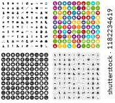 100 winter icons set in 4... | Shutterstock . vector #1182234619