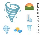 different weather cartoon icons ... | Shutterstock .eps vector #1182235879