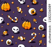 halloween pattern with sweets ... | Shutterstock .eps vector #1182236089