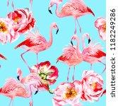 pink flamingo and peony... | Shutterstock . vector #1182249286