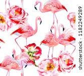 pink flamingo and peonies... | Shutterstock . vector #1182249289
