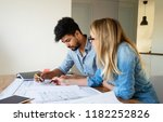 business people and architects...   Shutterstock . vector #1182252826