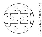 9 white puzzles pieces arranged ... | Shutterstock .eps vector #1182254716