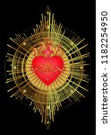 sacred heart of jesus with rays.... | Shutterstock .eps vector #1182254950