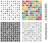 100 veterinary icons set in 4... | Shutterstock . vector #1182263383