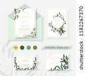 wedding floral gold invitation... | Shutterstock .eps vector #1182267370