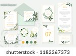 wedding floral gold invitation... | Shutterstock .eps vector #1182267373