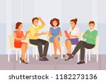 woman psychologist working with ... | Shutterstock .eps vector #1182273136