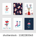 collection of 6 christmas card... | Shutterstock .eps vector #1182283363