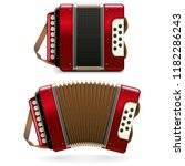 vector red accordion isolated... | Shutterstock .eps vector #1182286243