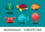 sea creatures set  cute funny... | Shutterstock .eps vector #1182291766