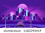 night neon city  car rides... | Shutterstock .eps vector #1182293419