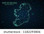 map ireland. wire frame 3d mesh ... | Shutterstock .eps vector #1182293806
