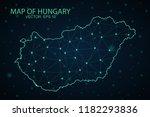 map hungary. wire frame 3d mesh ... | Shutterstock .eps vector #1182293836