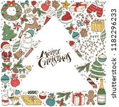 hand drawn merry christmas... | Shutterstock .eps vector #1182296233