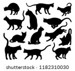 Stock photo a cat silhouettes pet animals graphics set 1182310030