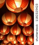 paper lanterns background | Shutterstock . vector #1182325423
