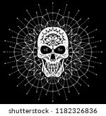 scary skull against white... | Shutterstock .eps vector #1182326836