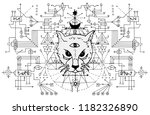 cat muzzle with mystic signs... | Shutterstock .eps vector #1182326890