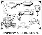 set of vintage steampunk cars ... | Shutterstock .eps vector #1182330976