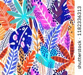 bright tropical leaf seamless... | Shutterstock .eps vector #1182336313
