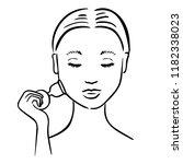 facial cupping massage. woman... | Shutterstock .eps vector #1182338023