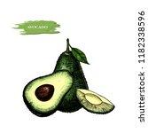 vector background with avocado .... | Shutterstock .eps vector #1182338596