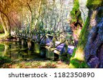 wooden bridge in forest | Shutterstock . vector #1182350890