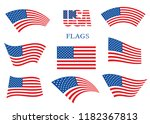 american waving flags set... | Shutterstock .eps vector #1182367813