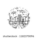 ufo space flight of a space in... | Shutterstock .eps vector #1182370096