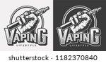 vintage vaping monochrome... | Shutterstock .eps vector #1182370840