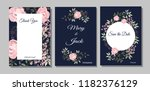 set of cards with flowers ... | Shutterstock .eps vector #1182376129
