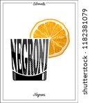 cocktail silhouette negroni... | Shutterstock .eps vector #1182381079
