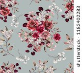 Stock photo seamless vintage background with flowers and leaves floral pattern for wallpaper paper and fabric 1182402283