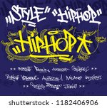 graffiti hiphop style typography | Shutterstock .eps vector #1182406906