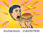 man eating burger. pop art... | Shutterstock .eps vector #1182407830