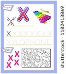 worksheet for kids with letter...   Shutterstock .eps vector #1182413869