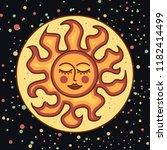 sleeping sun dark background... | Shutterstock .eps vector #1182414499