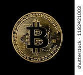 bitcoin coin on black background | Shutterstock . vector #1182421003