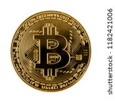 bitcoin coin on white background | Shutterstock . vector #1182421006