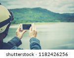 smartphone or mobile on nature... | Shutterstock . vector #1182426256
