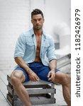 sexy male model  | Shutterstock . vector #1182426979
