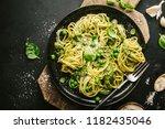 tasty appetizing pasta... | Shutterstock . vector #1182435046