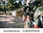 selective focus of paintball... | Shutterstock . vector #1182435436