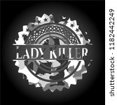 lady killer on grey camo pattern | Shutterstock .eps vector #1182442249