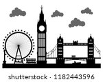 london city silhouette vector  | Shutterstock .eps vector #1182443596