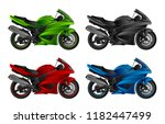 motorcycle set on a white... | Shutterstock .eps vector #1182447499